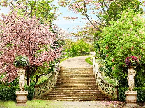 """Фотообои или фреска """"Лестница в парке"""""""