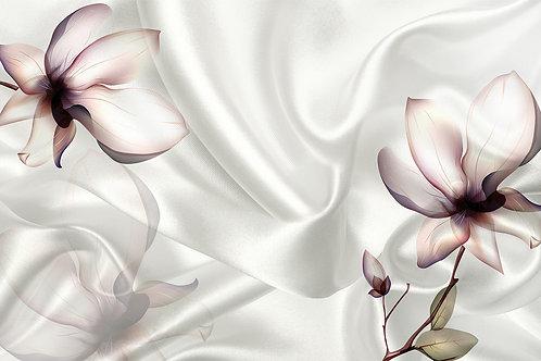 3д фотообои - Цветок на белом шелке