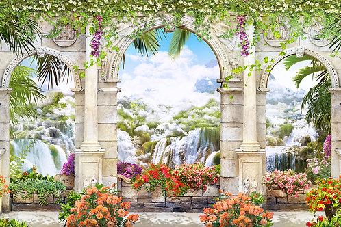 Фотообои или фреска - Арки с видом на водопады