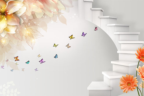 3д фотообои с белой лестницей