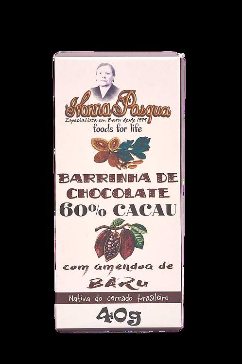 Barrinha de Chocolate 60% Cacau com Castanha de Baru - 40g - NONNA PASQUA