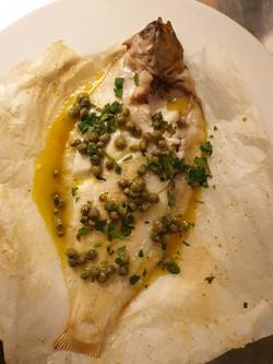 Baked lemon sole, caper butter