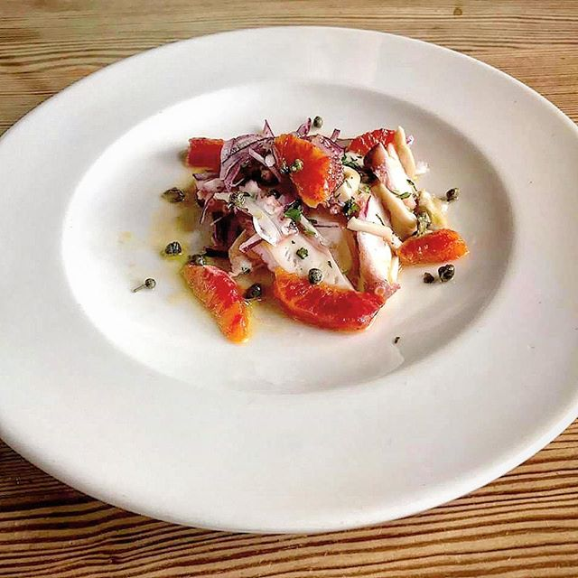 Octopus, blood orange, capers