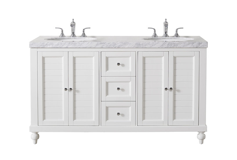"""Kent 60"""" White Double Sink Vanity with Drains and Faucets in Chrome"""