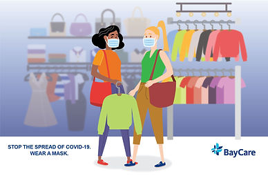 Illustration of two women shopping and w