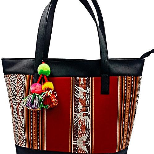rot braune Shopper Tasche, Vorderansicht
