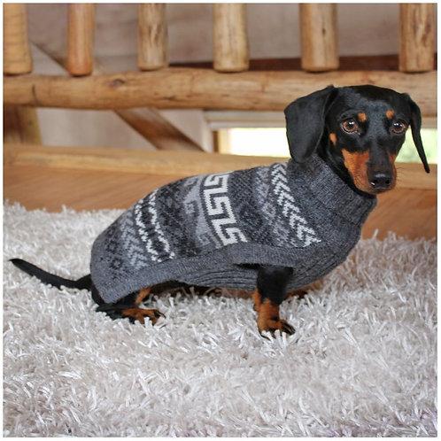 dunkelgrauer Hundepullover, Sitzansicht