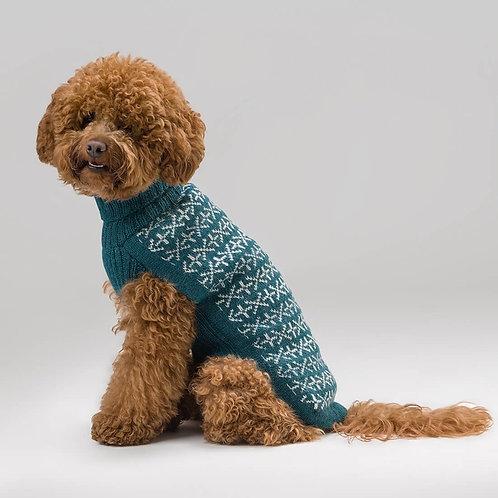 blauer Hundepullover, Seitenansicht