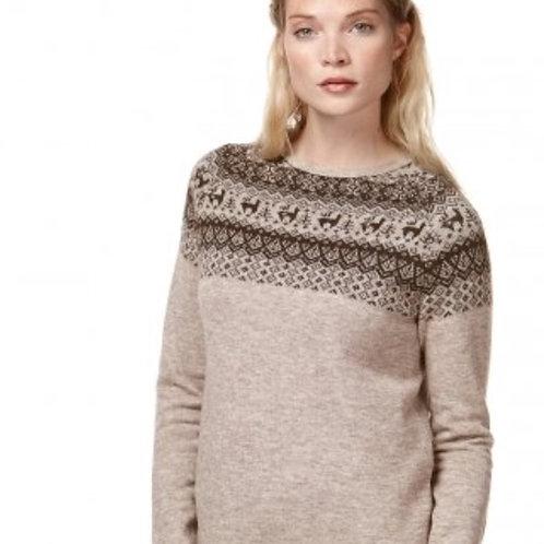 Brauner Pullover mit Andenmuster, Vorderansicht