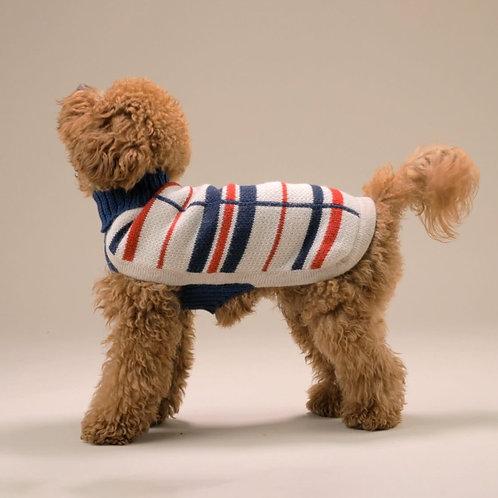 Hundepullover Querstreifen, Seitenansicht