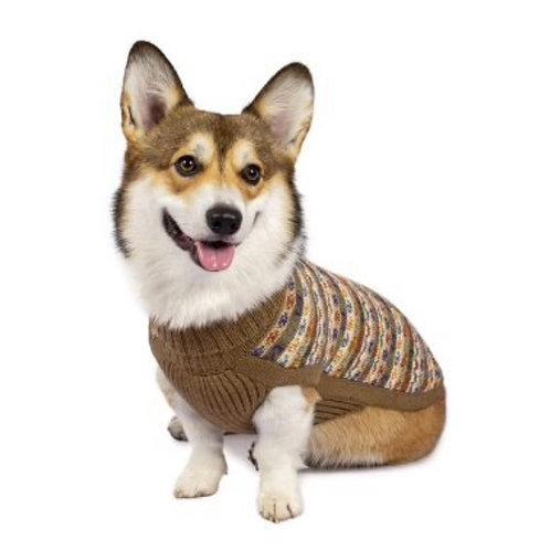 brauner Hundepullover, Sitzansicht
