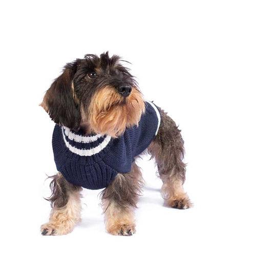blauer Hundepullover, Vorderansicht