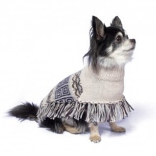 Hundeponcho grau, Sitzansicht