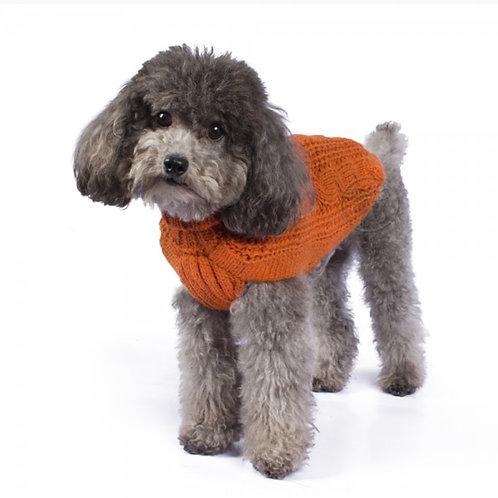 Hundepullover in orange mit Cable Muster, Vorderansicht