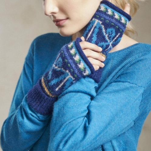 Damen - Handschuhe in blau ohne Finger, Musteransicht