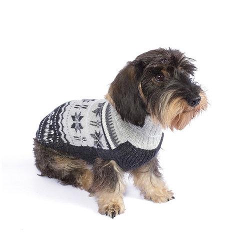 Hundepullover mit schönem Wintermuster, Sitzansicht