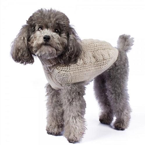 Hundepullover in beige natur schönes Cable Muster, Standansicht