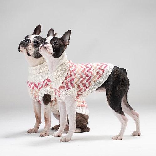 pinker Alpaka-Hundepullover, Seitenansicht