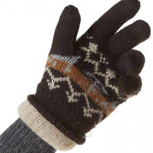 dunkel braune Handschuh, Vorderansicht