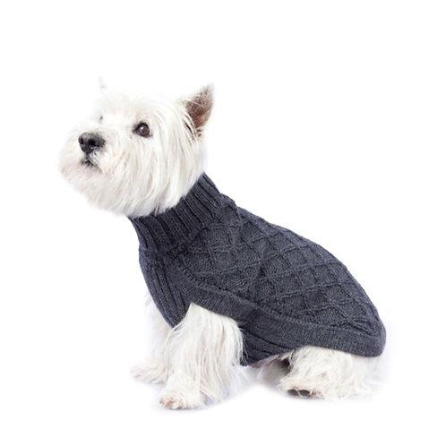 dunkelgrauer Hundepullover, Seitenansicht