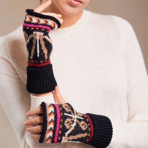 Handschuhe ohne Finger, schwarz mit schönem Muster, Vorderansicht