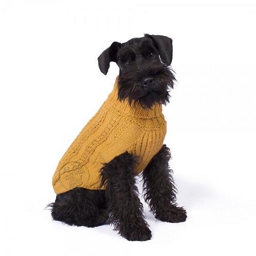 brauner Hundepullover in Knitmuster, Sitzansicht