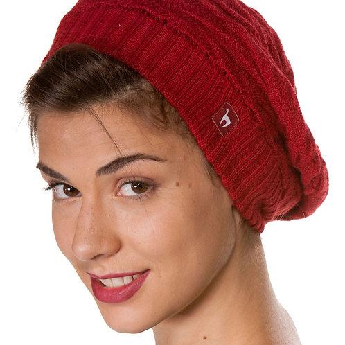 Beret Biesen Basken Mütze Purpur