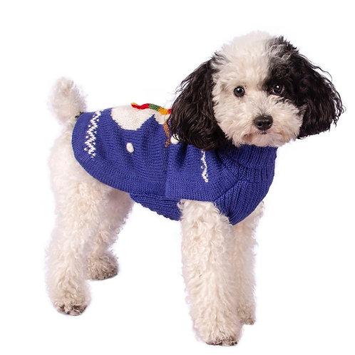 blauer Hundepulli, Schneemannmuster, Seitenansicht