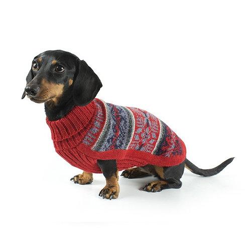 Hundepullover mit rotem Andenmuster, Sitzansicht