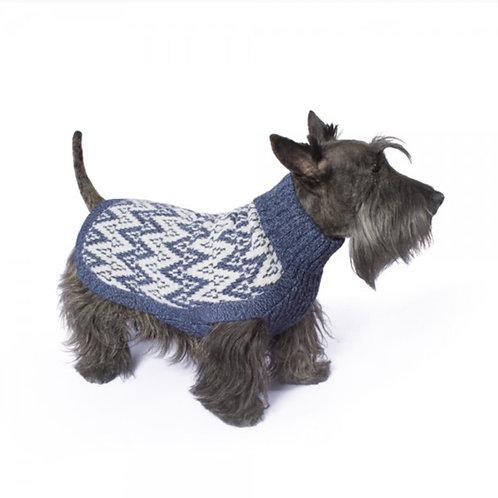 Hundepullover in blauem Andenmuster, Standansicht