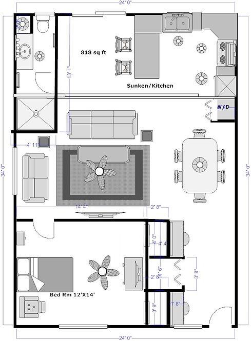 South Garge Apart 1 Bed+ Office 1-Bath_e
