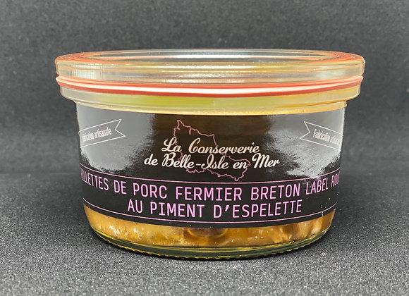 Rillettes de porc fermier breton label rouge au piment d'Espelette.
