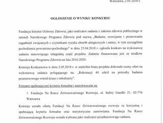 """Ogłoszenie o wyniku konkursu: """"Rekrutacja 40 szkół na potrzeby badania przesiewowego wśród dzie"""
