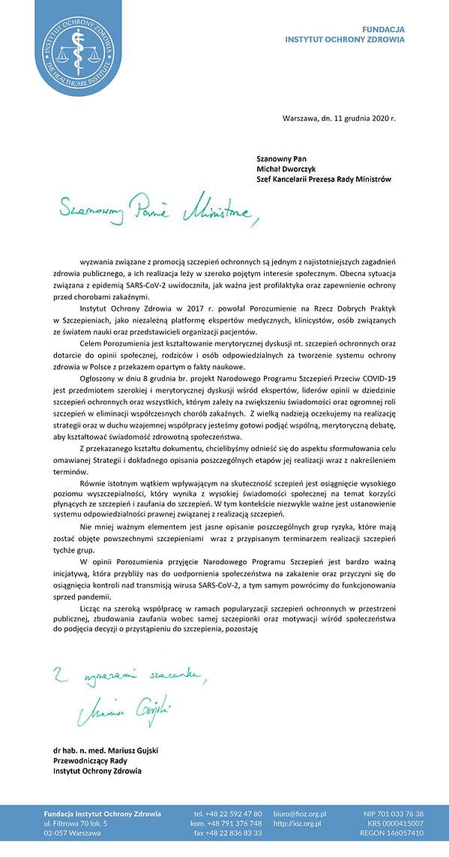 Narodowy Program Szczepień  uwagi Porozu