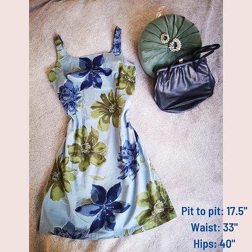 Blue floral 90's dress
