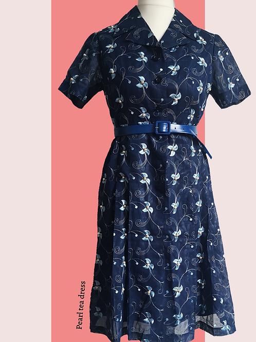 Blue, reworked pearl vintage tea dress