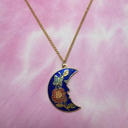 Enamel moon necklace