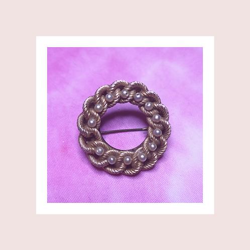 Vintage pearl wreath brooch
