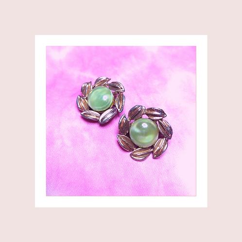 green clip-on earrings