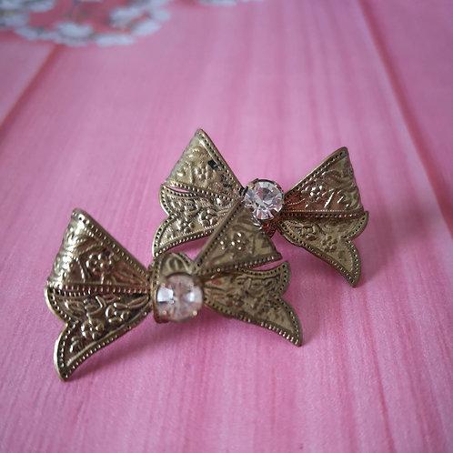 Bow bling stud earrings