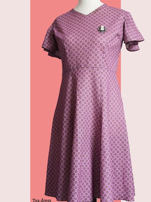 Handmade Purple vintage fabric tea dress