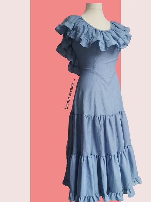 Vintage blue frills dress