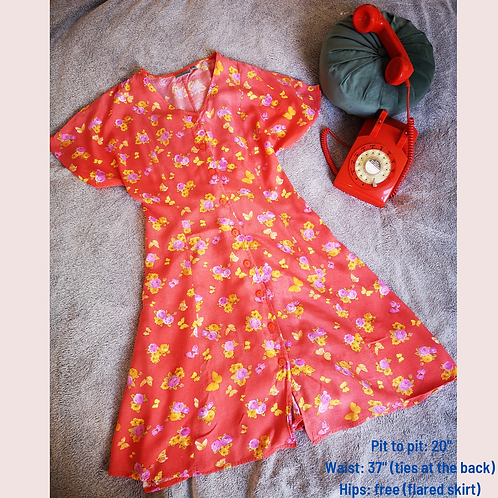 Orange 90s floral & butterfly dress
