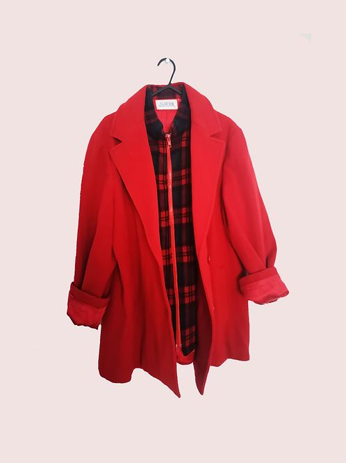 Red Wool and tartan Coat