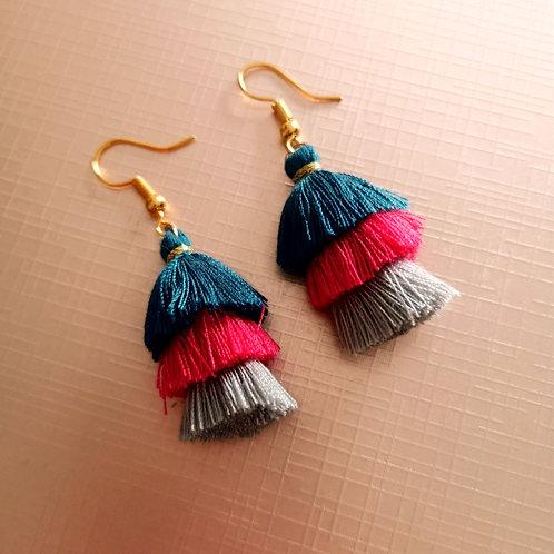 Colour pop fringed earrings