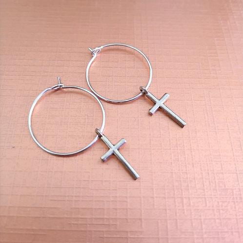 Hoop cross earrings