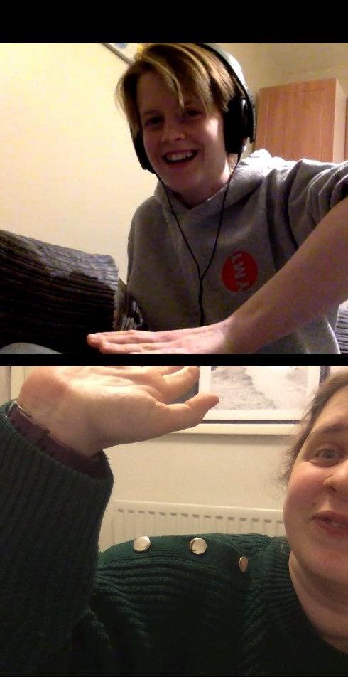 Hazel and Erin highfiving over a video conferencing platform.