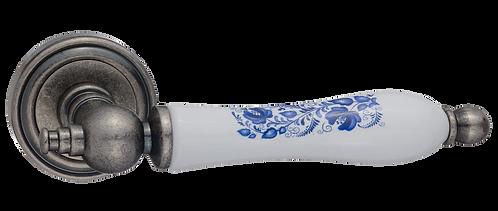 """Ручка дверная """"Медея"""", серебро античное с керамикой"""