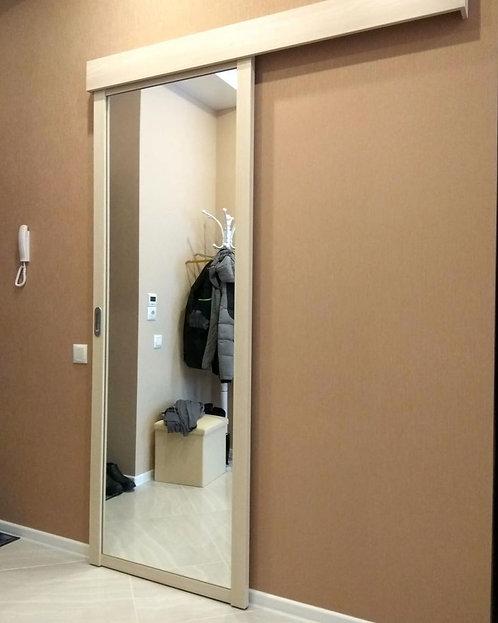 Перегородка для зонирования гардеробной зоны с зеркалом.