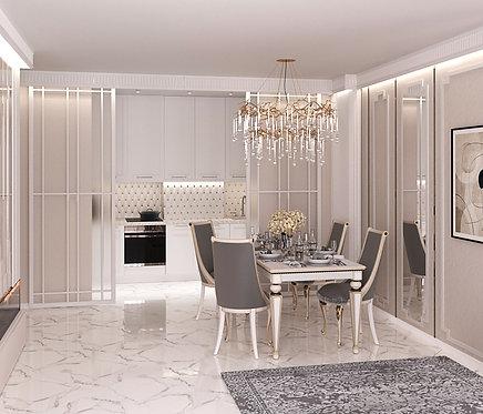Отделяем Лофт перегородкой кухонную зону от гостиной.
